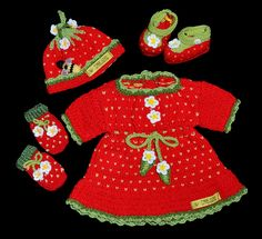 Ravelry: Strawberry Baby Set pattern by Marcelline Simonotti