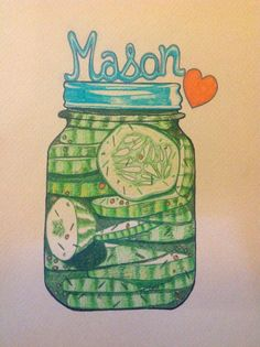 I can't help it. I love mason jars. And all the delicious food inside them. I finished this little marker drawing today.