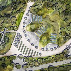 Unbelievable Modern Architecture Designs – My Life Spot Landscape Architecture Drawing, Landscape Concept, Landscape Architecture Design, Architecture Visualization, Landscape Drawings, Architecture Plan, Park Landscape, Landscape Plans, Urban Landscape
