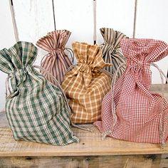 Set of 5 Homespun Plaid Fabric Christmas Gift Bag 8 x 12 by Jubilee Creative Studio
