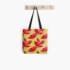 Red watermelon slices on a yellow watercolor background Tote Bag