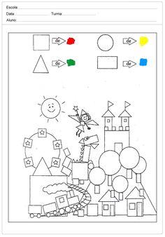 Art For Kids, Crafts For Kids, Kindergarten Colors, Shapes Worksheets, Kawaii Anime, Diagram, Classroom, School, Drawings
