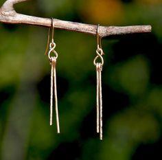 Hammered Gold Filled Earrings Stick Long Thin Modern Minimalist Elegant Jewelry