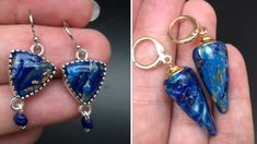 Earring Tutorial, Faux Stone, Lapis Lazuli, Clay Videos, Polymer Clay, Clay Earrings, Drop Earrings, Clay Tutorials, Color Mixing