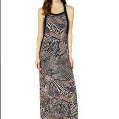 Beautiful Print Maxi Dress 2nd photo shows top front side. 3rd photo shows top back side.  4th photo shows how print look like.  100% polyester.  Length from neck area is about 52 inches.  Runs small. JustFab Dresses Maxi