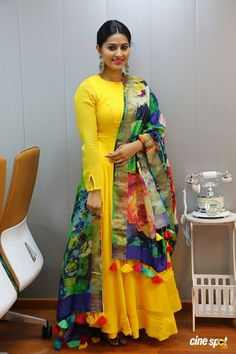 Yellow kurti with multicolored dupatta Sneha at V Care Multispeciality Clinic Launch Kurti Designs Party Wear, Salwar Designs, Blouse Designs, Indian Designer Outfits, Indian Outfits, Designer Dresses, Designer Kurtis, Long Gown Dress, The Dress