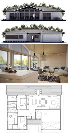 Small House plan with double garage, three bedrooms. Modern House Plan to Modern Family. Loft Floor Plans, Small House Floor Plans, Modern House Plans, Loft Flooring, Casas Containers, Modern Windows, House Entrance, House Layouts, House Front