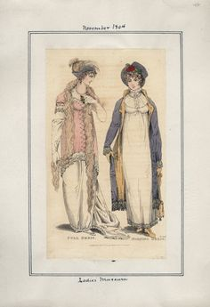 Lady's Museum, November 1804. Well, apart from the…boa?…that is made out of a golden retriever, I really like these two outfits.  I'm a huge fan of the pelisse lined in yellow that matches her reticule and shoes!  Nice touch!