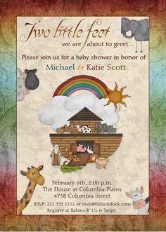 Noah's Ark Baby Shower Invitation – Christian Animal Rainbow