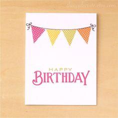 Handmade Birthday Card Girl Birthday Banner Card by theapplecrate, $3.75
