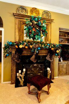 Peacock Christmas Mantel