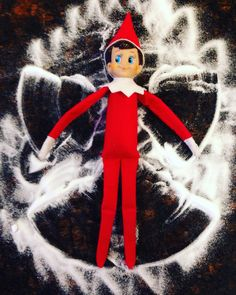 Elf on a Shelf Snow Angel in salt - easy, inexpensive, low mess, and delightful!
