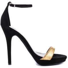 Michael Antonio Women's Lovina Ct - Blk Gold Met PU ($44) ❤ liked on Polyvore featuring shoes, pumps, heels, black and gold pumps, black and gold shoes, metallic pumps, gold high heel shoes and ankle strap pumps