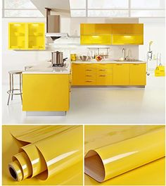 Creative Covering Self-Adhesive Vinyl Shelf and Drawer Liner Glossy Contact paper for Kitchen Cabinets Drawers Countertops Pantry inch by 16 Feet (Yellow) Yellow Kitchen Designs, Kitchen Room Design, Kitchen Cabinet Design, Modern Kitchen Design, Interior Design Kitchen, Kitchen Decor, Kitchen Paint, Bad Wand, Vinyl Shelf