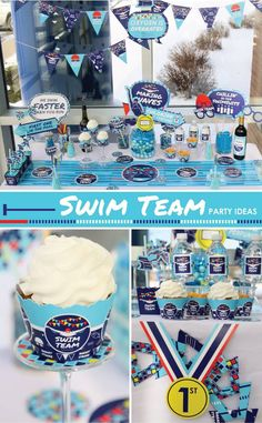 Celebrate your favorite swimmer with a swim team birthday party or honor the whole team with an impressive swim team. Swim Team Party, Swim Team Gifts, Sports Party, Night Swimming, Swimming Sport, Swim Mom, Swim Team Mom, Senior Night Gifts, Competitive Swimming