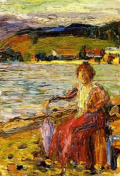 Wassily Kandinsky 'Lady Seated by the Lake Side' - (1902)