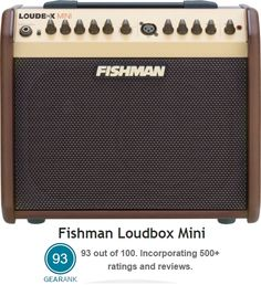 The 2nd Highest Rated Acoustic Guitar Amp between 50 & 100 Wats is the Fishman Loudbox Mini 60-watt Acoustic Guitar Amplifier. Street Price: $330.