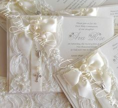 Custom Listing for Angelita  (20) Invites - Glamour Vintage Lace Pearl Rosary Beads Couture Invitation - Blush/Antique-Gold