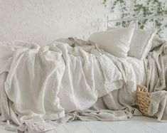 Items similar to Linen Duvet Cover Queen King Twin Double Doona cover linen bedding comforter cover Stonewashed prewashed Natural Ivory stripes pure linen on Etsy Bed Linen Sets, Linen Duvet, Linen Pillows, Bed Linens, Linen Fabric, Comforter Cover, Duvet Sets, Wabi Sabi, Cheap Bed Sheets