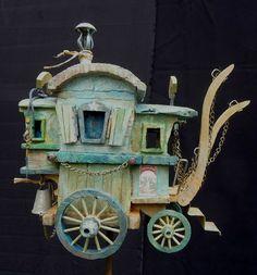 Crafting Wanderlust: The Poetic Caravans of Pascal Tirmant Miniature Houses, Miniature Fairy Gardens, Fairytale House, Gypsy Wagon, Gypsy Caravan, Kobold, Fairy Garden Houses, Ceramic Houses, Fairy Doors