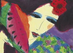 Walasse Ting | Lady With Watermelon | Chinese 1929-2010