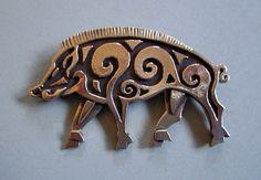 Master Ark's Boar Brooch or Pendant in Bronze (www.MasterArk.com)
