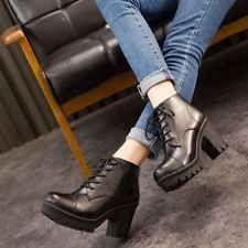Women Martins Boots Platform Block Mid Heels Cleated Sole Booties Black US 8