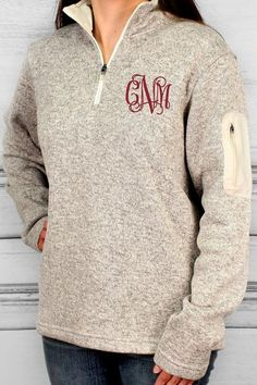 Charles River Heathered Fleece Pullover (Men's Cut), Oatmeal Heather #ewamboutique #monogram #monogrammedpullover