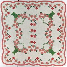 Pink Dogwood   Alternate Pattern: Marie Webster pattern   Probably made in Guernsey County, Ohio, United States   Date: Circa 1927   Style/Type: Kit/Pattern   Dimensions (LxW): 76 x 76 Inches