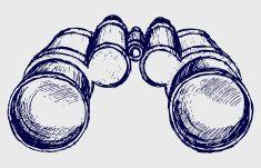 Binoculars sketch vector art illustration