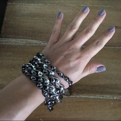 Silver/gray bangles Super fun bangles. Great to dress up or down. All jewelry is $10 if purchased in bundle. (Excludes Kate Spade and BCBG). Jewelry Bracelets