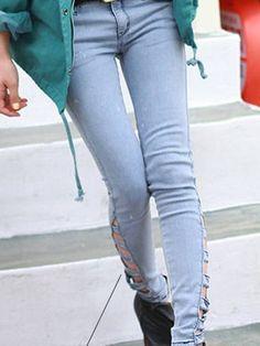 Broken hole Pencil long jeans Korean Fashion, Women's Fashion, Skinny Jeans Style, Cheap Jeans, Pencil, Pants, K Fashion, Trouser Pants