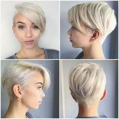 vier Fotos mit blonden Haaren hängende Ohrringe Undercut Frisuren Frauen kurzes Haar