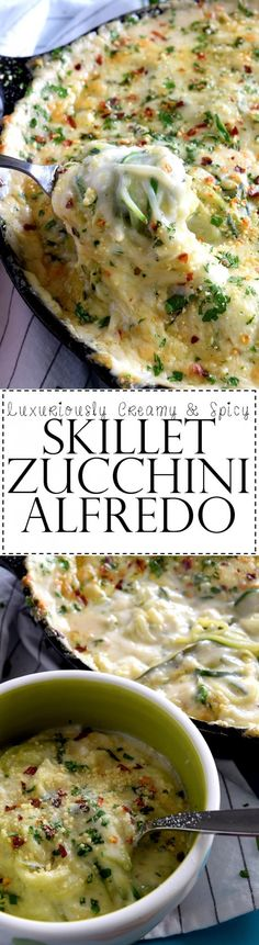 This one pot, luxuriously creamy and spicy Skillet Zucchini Alfredo is just as the name suggests: creamy, spicy, and deeply flavourful. Baked to perfection, with a gooey cheese topping, this will become your favourite pasta alternative!