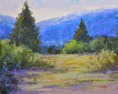 """Colorado Mountain Pastel Landscape Painting """"Tranquil Moment"""" by Colorado Landscape Artist Barbara Churchley"""