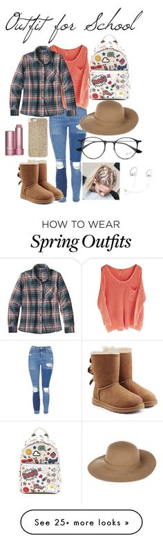 """""""Outfit for School"""" by ava-josephine on Polyvore featuring Topshop, Patagonia, UGG, Anya Hindmarch, Michael Kors, Armani Jeans, Ray-Ban, Beats by Dr. Dre, denim and plaid"""