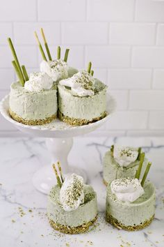 Match Green Tea No Bake Cheesecakes (via abeautifulmess.com)