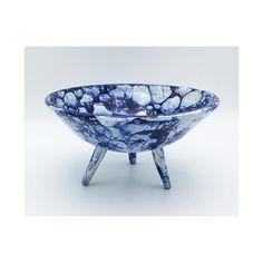 Tripod low bowl with royal blue bubble glaze.