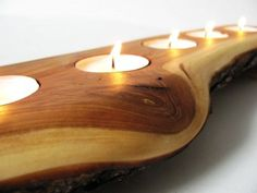 2014 Party Candles Ideas - Split log candle holder. Rustic apple wood tea light