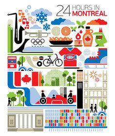 24 hours in Montreal, Canada is part of a series designed by Fernando Volken Togni for the Oryx Magazine, Qatar Airways. If you like this illustration check out India, South. Quebec Montreal, Montreal Travel, Quebec City, O Canada, Canada Travel, Canada Trip, Ottawa, Torre Cn, Toronto