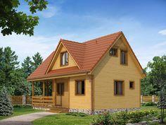 Poziomka dr-S to nieduży dom letniskowy z użytkowym poddaszem, którego urokiem jest duży taras oraz zadaszonym balkonem. Szczegóły projektu na stronie: http://www.domywstylu.pl/projekt-domu-poziomka_dr-s.php. #poziomka #domywstylu #mtmstyl #domyrekreacyjne #projektygotowe #domydrewniane
