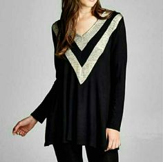 BLACK & GOLD CHEVRON TUNIC New black and gold shimmer chevron long sleeve tunic 95 % Rayon/5% Spandex Made in USA Available in S,M,L Please comment size & I will make you a separate listing Price is final 4 Bidden Boutique Tops Tunics