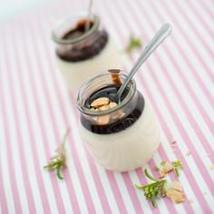 Toasted-Coconut Panna Cotta with Aunti Shirley's Chocolate Sauce, #recipe from The Sugar Cube, by Kir Jensen