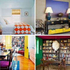What I like about this picture is the bottom right hand picture. Great idea for book shelf placement