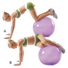 Oblique ab twist on stability ball. One of three stability ball excercises that make up this ab flattening workout. Fitness Motivation, Fitness Diet, Health Fitness, Women's Health, Fitness Expert, Cycling Motivation, Health Tips, Stability Ball Exercises, Core Stability