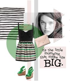 """Green stripes"" by rouladam ❤ liked on Polyvore"
