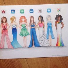 Social Media Dresses Part 2 by: @my_drawings_xoxox ✏️ Check out Part 1 as well - posted 2 weeks ago  - Follow my tattoo page for daily pictures of tattoos: @inkspiringtattoos