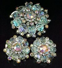 Weiss Aurora Borealis Crystals Brooch and Earrings