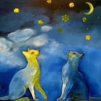 Two cats in a starry night by Nelly van Nieuwenhuijzen