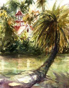 Sherry Schmidt - Plein air watercolor at the Arboretum, Arcadia, CA